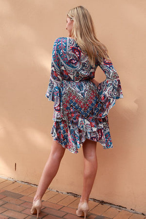 Paisley Blue&Red Mid-length dress