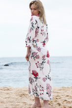 Load image into Gallery viewer, Red & Pink Floral Drawstring Kimono
