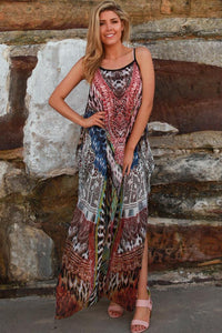 Multicoloured 'Cold Shoulder' Kaftan