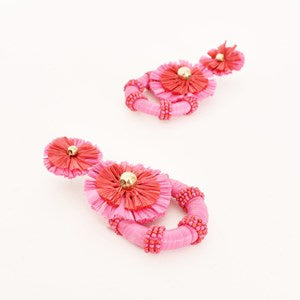 Jenna Raffia Floral Ring Drop Earrings