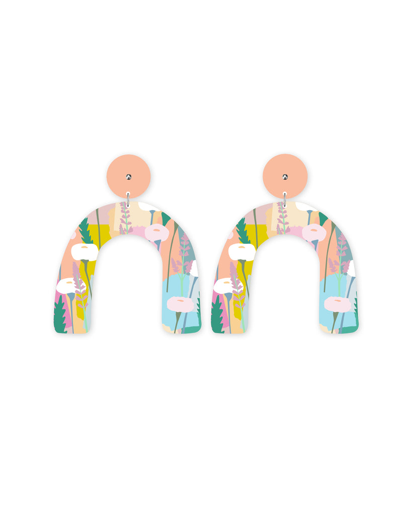 Pastel Leah Arch Drop Stud Earrings