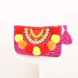 Pom Pom Beaded and Shell Clutch