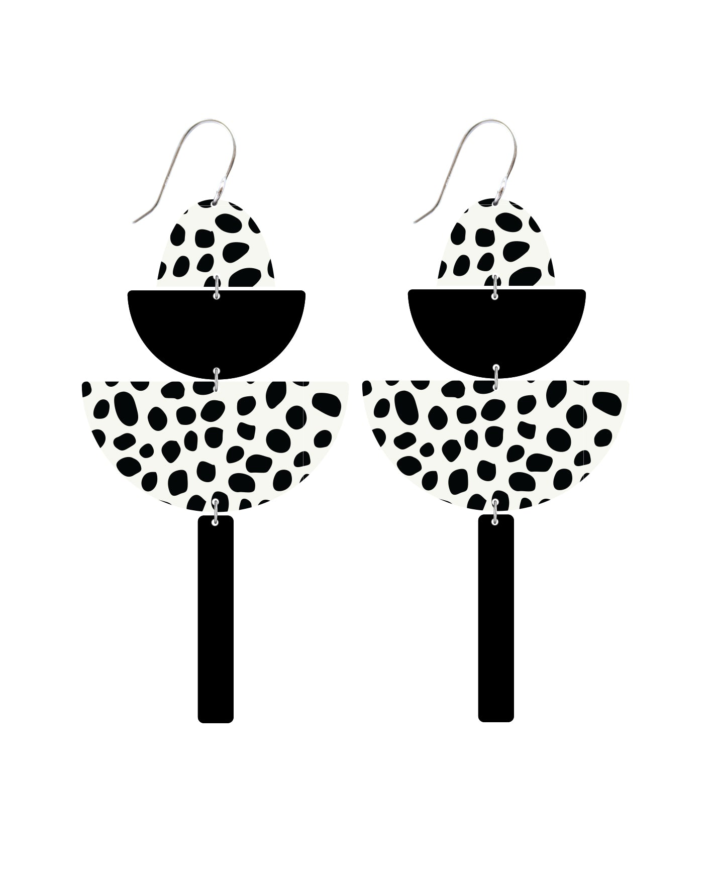 White Animal Print Big Statement Drop Earrings