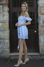Load image into Gallery viewer, Off the Shoulder Blue&White Stripe Mini Dress