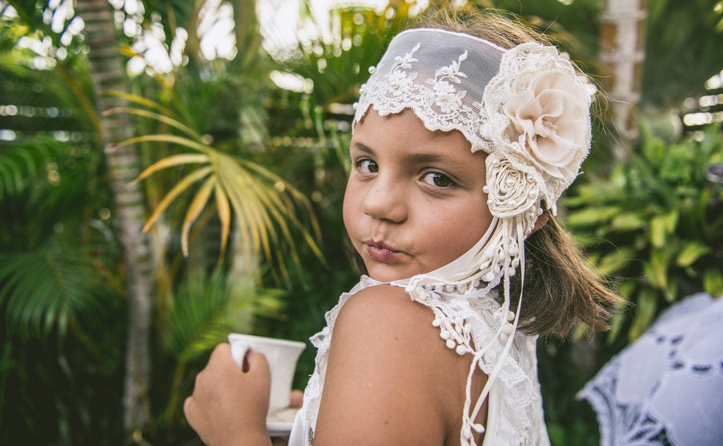 Gatsby Headband Cream with Pearls