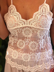 Lace Cami Daisy Flower