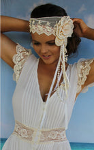 Load image into Gallery viewer, Gatsby Headband Cream with Pearls
