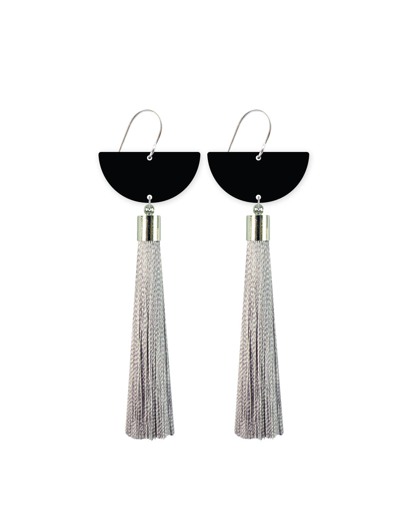 Black Moon Tassel Drop Earrings