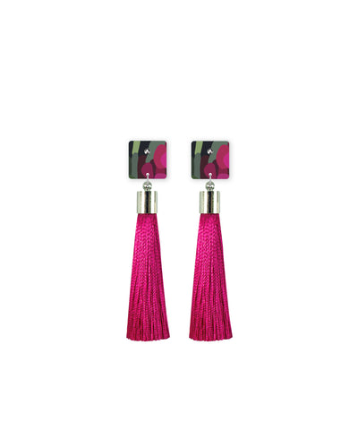 Bloom Kimmy Square Tassel Stud Earrings