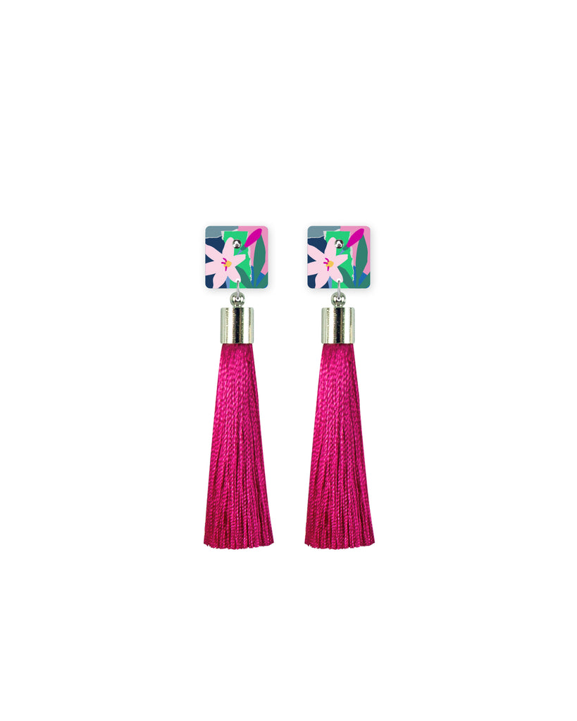 Blue Leah Square Tassel Stud Earrings