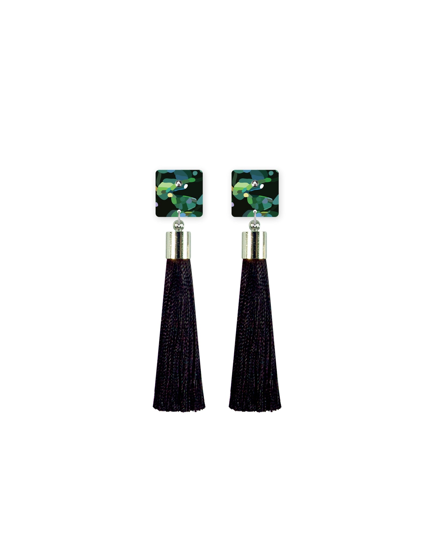 Jungle Kimmy Square Tassel Stud Earrings