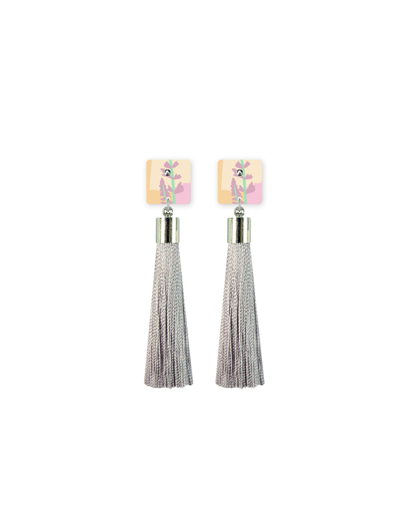 Pastel Leah Square Tassel Stud Earrings