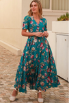 Jade Green Floral Maxi Dress