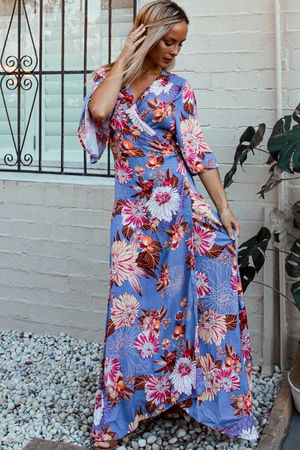 Lavender Floral Wrap Maxi Dress