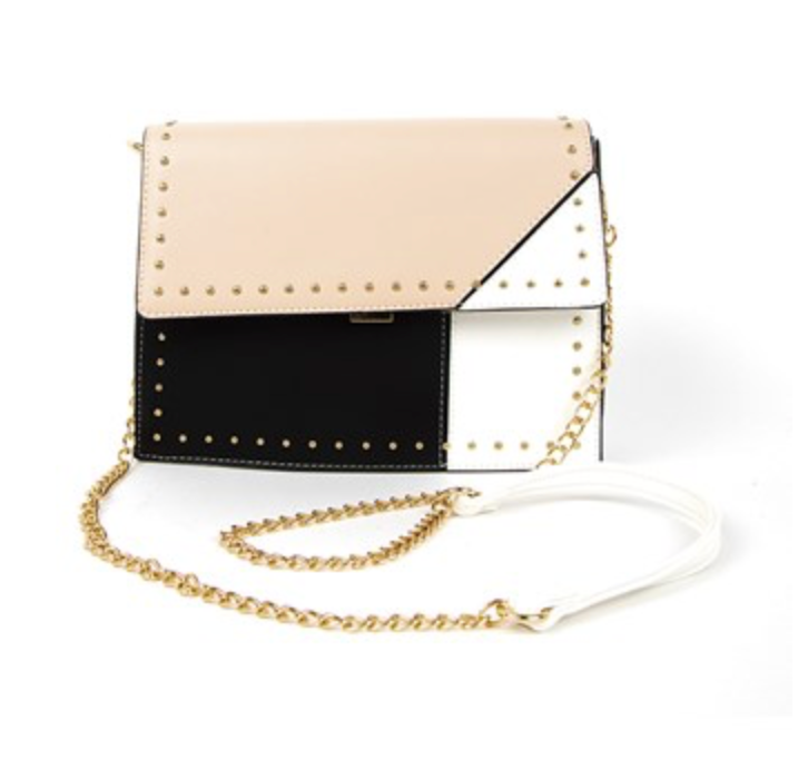 Mini Stud Edge Tri-Tone Flap Over Lunch Bag