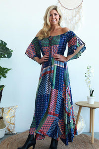 Blue Lagoon Strapless Maxi Dress