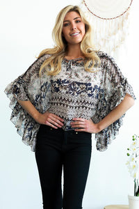 Frill Sleeve Patterned Top