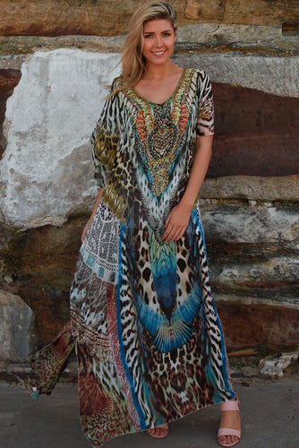 Pick&Mix Blue and Leopard Kaftan
