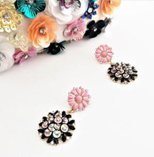 Load image into Gallery viewer, Resin & Jewel Sequin Details Flower Drop Earrings