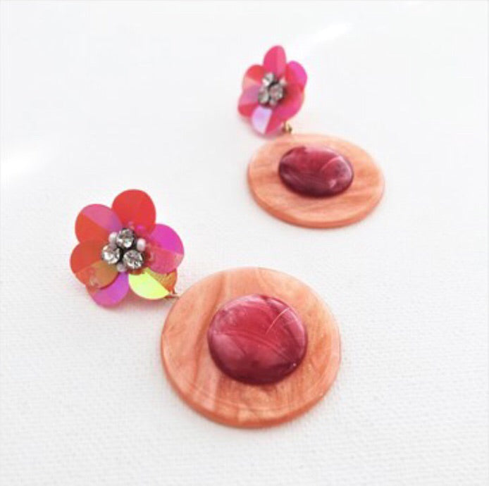 Sequin Flower Two Tone Earrings