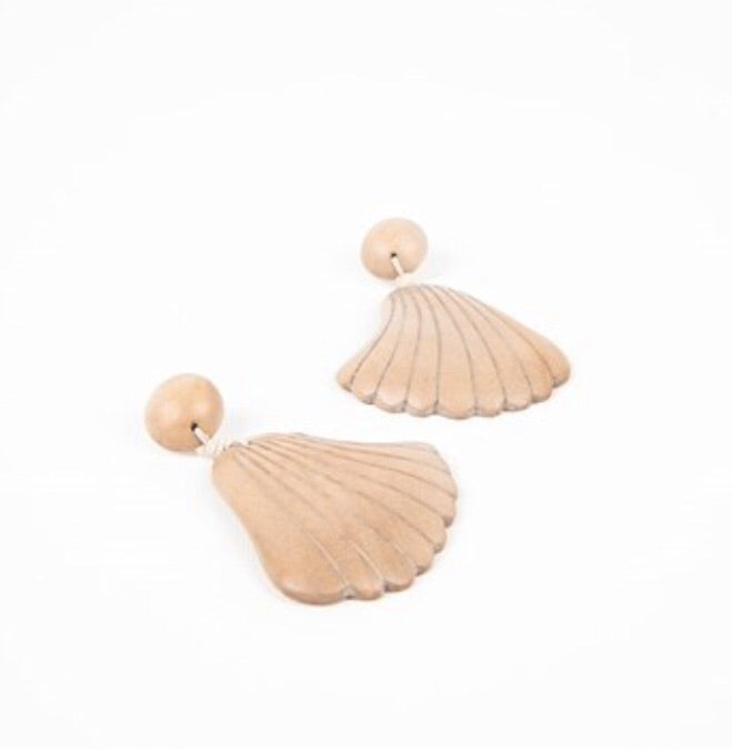 Curved Timber Shell Earrings