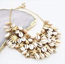 Load image into Gallery viewer, Cowry Starfish Statement Necklace