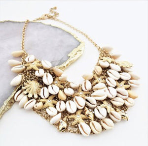 Cowry Starfish Statement Necklace