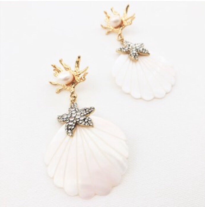 Coral Shell & Diamanté Starfish Earrings