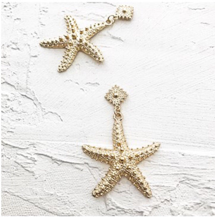 Starfish Button Top Earrings