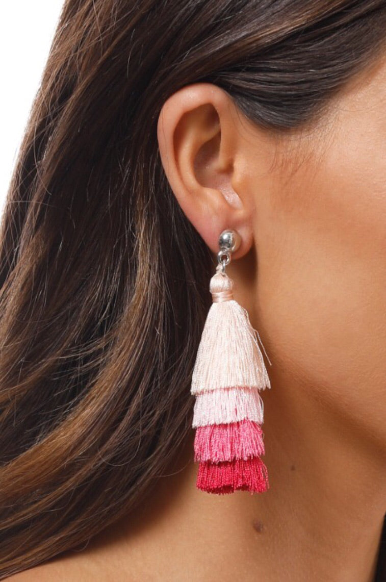 Quatro Tassel Button Earrings