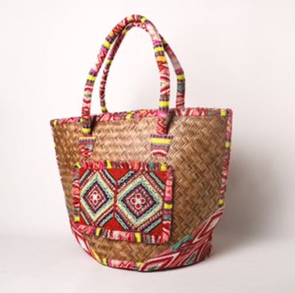 Panel Front Basket Weave Tote