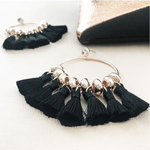 Load image into Gallery viewer, Tassel Drops Circle Button Earrings