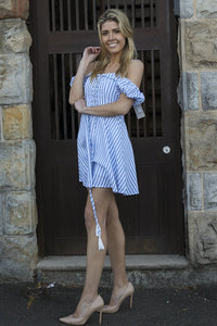 Off the Shoulder Blue&White Stripe Mini Dress