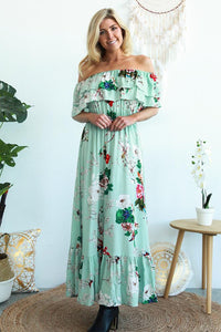 Mint Floral Strapless Maxi Dress