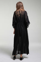 Load image into Gallery viewer, Chic Black Drawstring Maxi Dress
