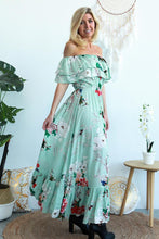 Load image into Gallery viewer, Mint Floral Strapless Maxi Dress