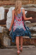 Load image into Gallery viewer, Red&Blue Leopard Mid-Length Kaftan