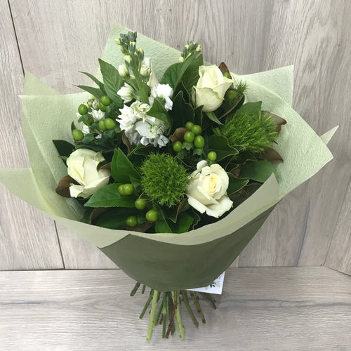 So fresh green and white bouquet