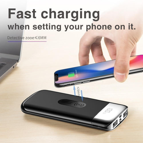 Qi Wireless Charger Power Bank 30000mAh