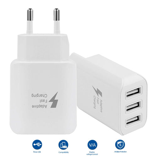 3 Port Multiple USB Fast Charger Adapter