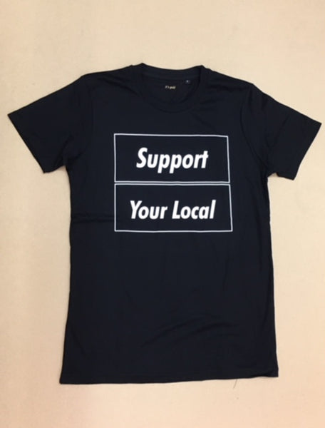 SUPPORT YOUR LOCAL mens t-shirt (outline print)