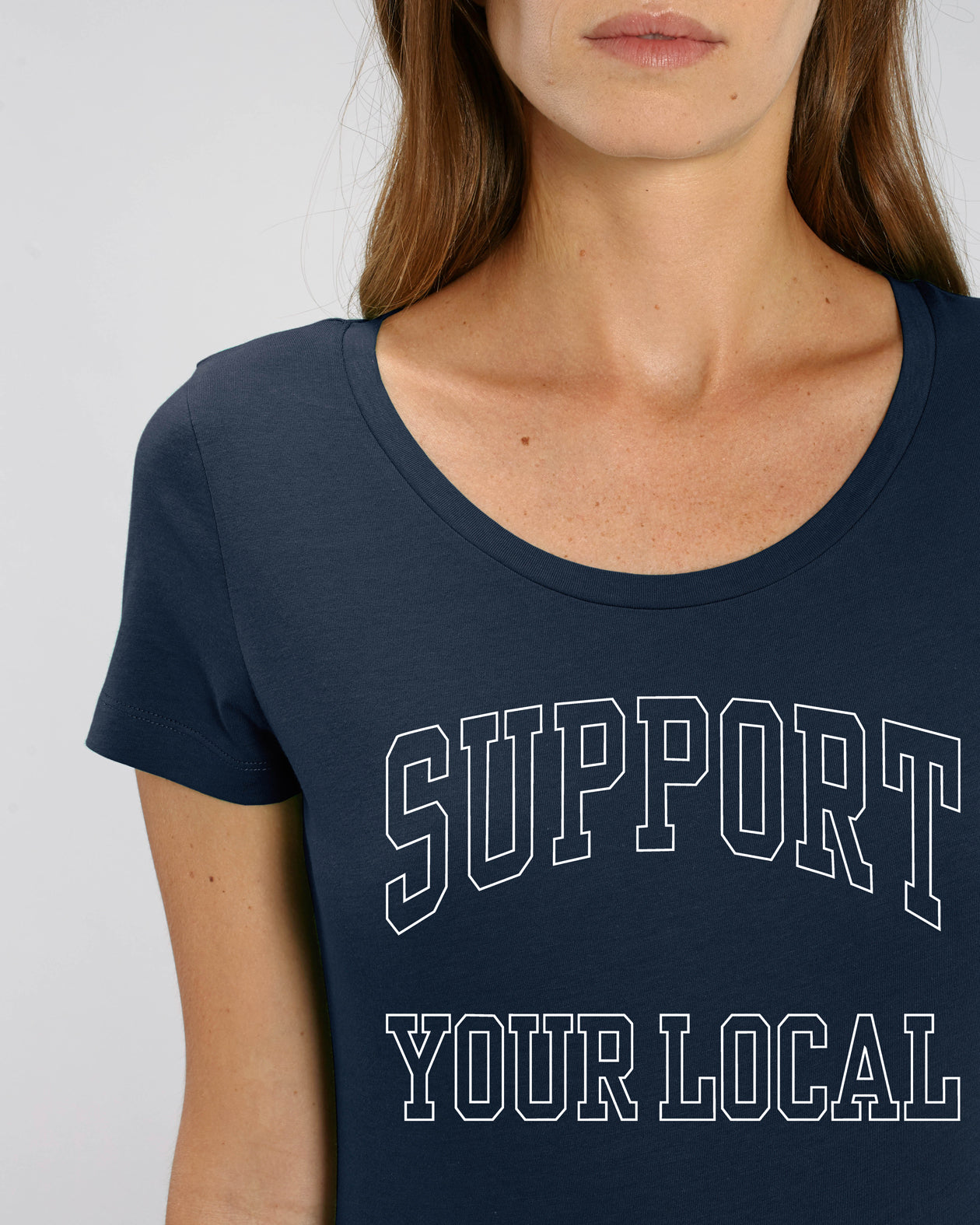 SUPPORT YOUR LOCAL womens t-shirt (uniline print)