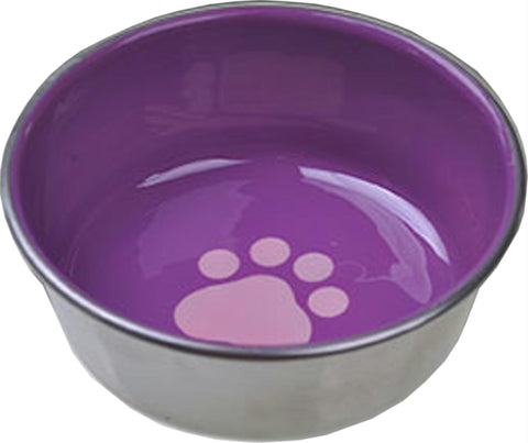 Ss Non-skid Cat Dish W- Decorated Enamel Interior - Wagging Online