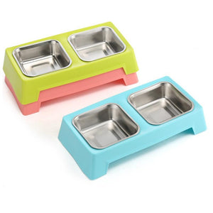 Stainless Double Pet Bowls - Wagging Online
