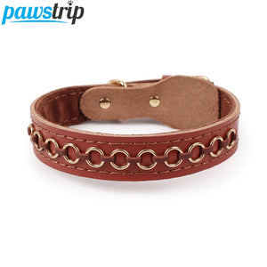 3 Size Cow Leather Dog Collar Lead Circle Spiked Pet Dog Collar For Large Dogs 2.5/3.0/3.5cm Width - Wagging Online