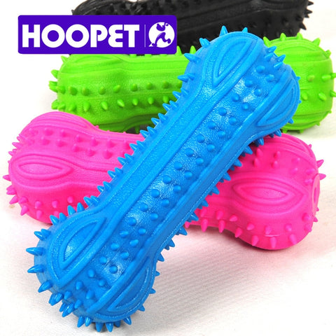 HOOPET Pet Dog Toys Puppy Cat Colorful Chew Toy Soft Small Rubber Bone Squeaky Sound Products for Aniamls - Wagging Online
