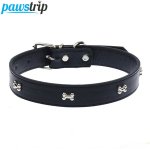 5 Colors Bone Pet Dog Collar Durable PU Leather Adjustable Puppy Cat Strap Collar XS/S/M/L - Wagging Online