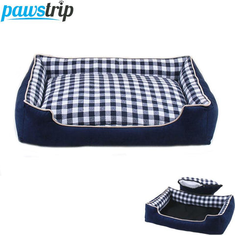 Plaid Pet Dogs Bed With Cushion - Wagging Online