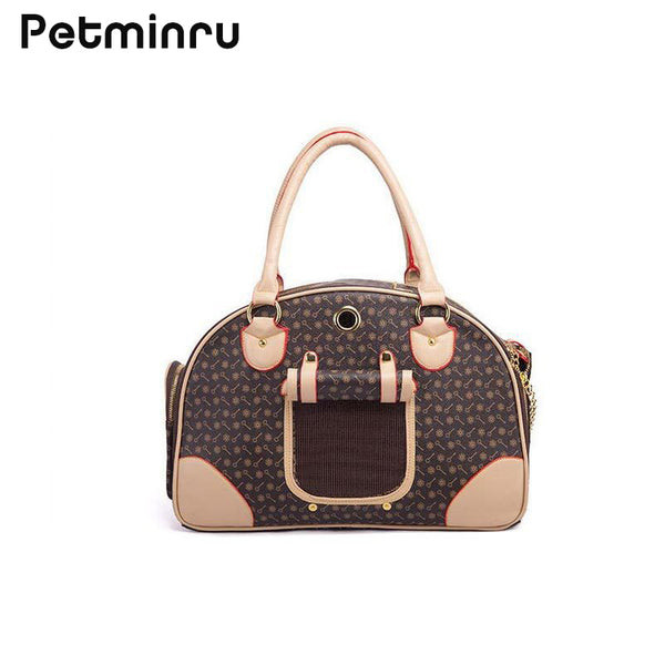 Petminru  Pu Leather Small Cat Dog Carrier Bag Outdoor Travel Carry Tote Foldable Shopping Bag Portable Pet Dog Handbag - Wagging Online