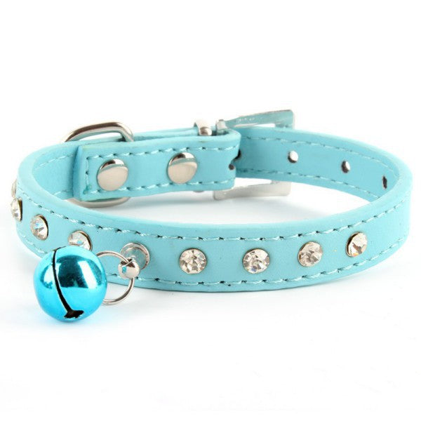 Pet Collar With Rhinestones & Bell - Wagging Online